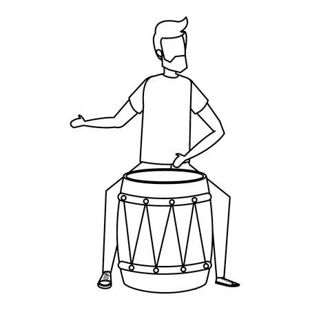man playing bongo tropical instrument vector illustration design Illustration