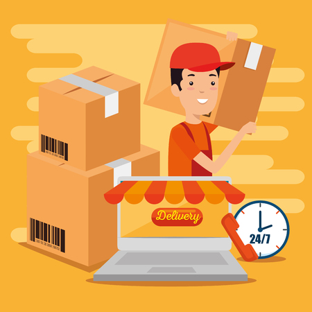 logistic services with laptop vector illustration design