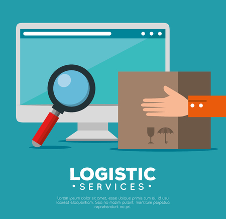 logistic services with computer vector illustration design