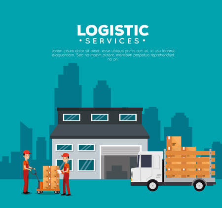 logistic services with warehouse building vector illustration design Stock Vector - 110644826