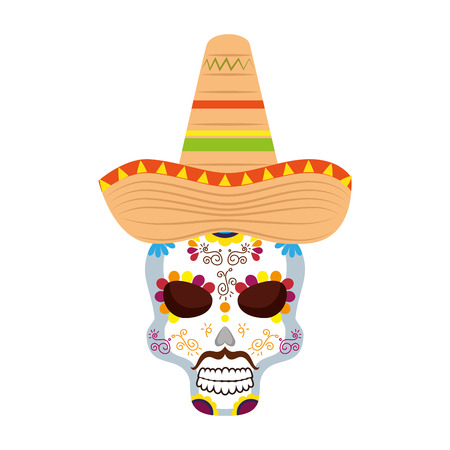 mask of the santa death with hat vector illustration design