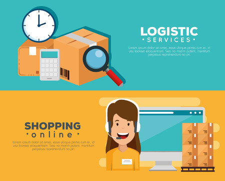 logistic services with support agent and computer vector illustration Illustration