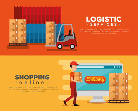 logistic services with delivery worker vector illustration design Stock Vector - 110645931