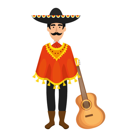 traditional mexican mariachi with guitar vector illustration design