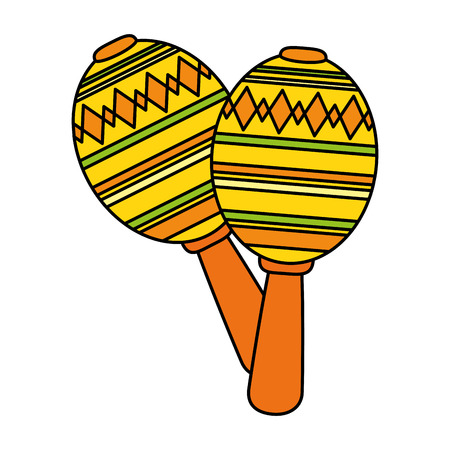 mexican culture maracas icon vector illustration design 写真素材 - 110645951