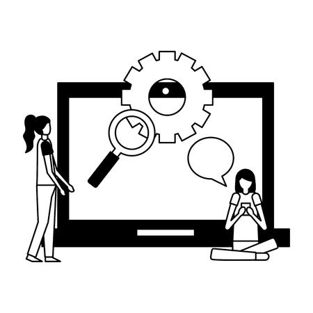 community activity tablet magnifying glass wheel girls talking vector illustration vector illustration