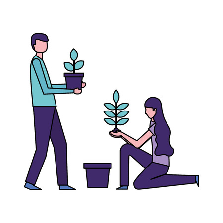 man and woman holding potted plants vector illustration Illustration
