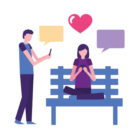 couple using mobile in the bench park vector illustration Illustration