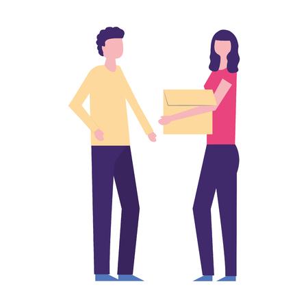 homme femme, porter, boîte carton, vecteur, illustration