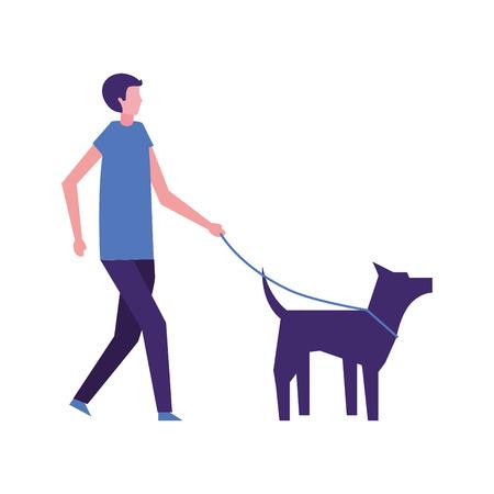 man walking with her pet dog vector illustration