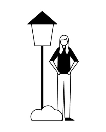 woman standing with post lamp bush vector illustration