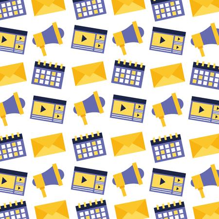 calendar email speaker video social media pattern vector illustration