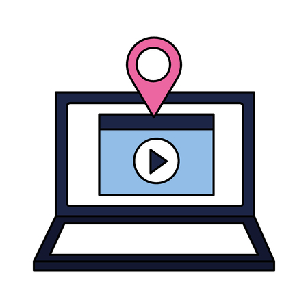 laptop video content location pointer vector illustration