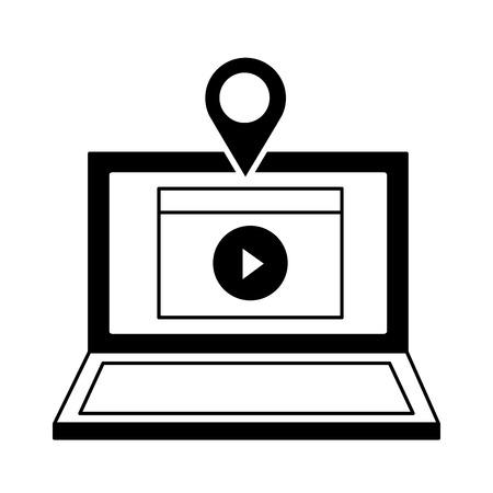 laptop video content location pointer vector illustration
