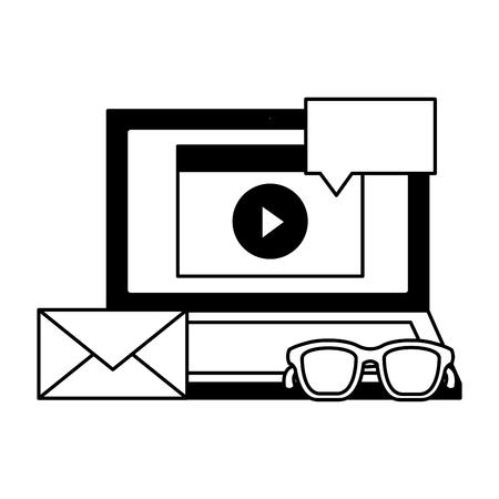 laptop blog email speech bubble internet social media vector illustration Illustration