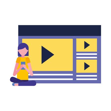 woman using mobile video content media vector illustration Векторная Иллюстрация