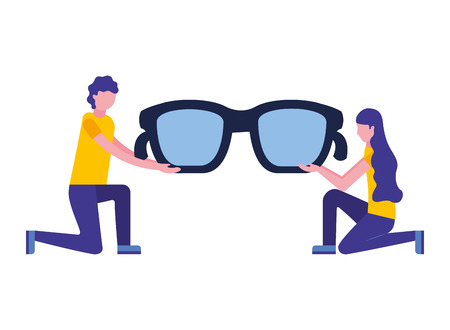 man and woman holding glasses accessory vector illustration Ilustração