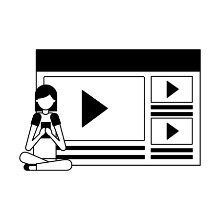 woman using mobile video content media vector illustration