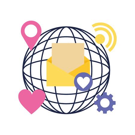 social media digital world video message like signal vector illustration