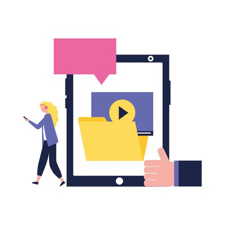 social media digital smartphone folder open message wheel blonde girl walking vector illustration