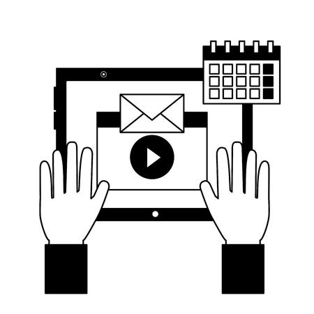 social media digital hands tablet message video calendar search vector illustration vector illustration
