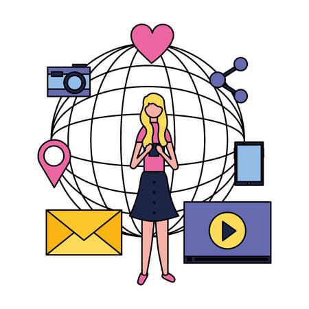 social media digital world blonde girl using telephone camera message vector illustration