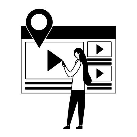 woman using mobile video content media vector illustration vector illustration