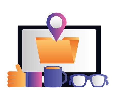 social media digital computer folder like location vector illustration vector illustration
