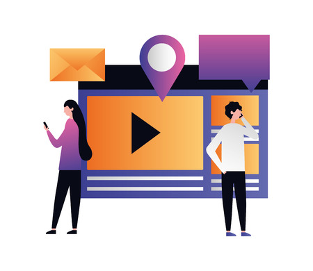 social media digital man woman document video follow location vector illustration vector illustration