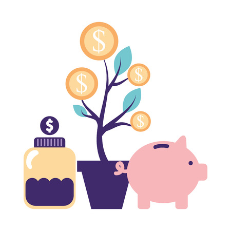 help piggy bank bottle plant coins donate vector illustration Illusztráció