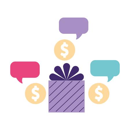 help gift box bubble donate money vector illustration Illustration