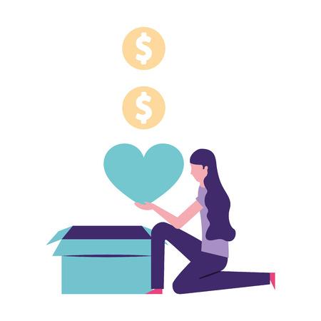 volunteers help woman holding heart box donation vector illustration