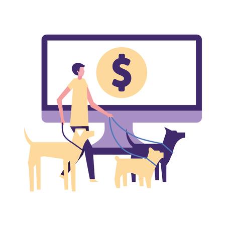 volunteers help dog walker computer online donate vector illustration