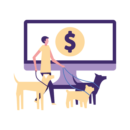 volunteers help dog walker computer online donate vector illustration