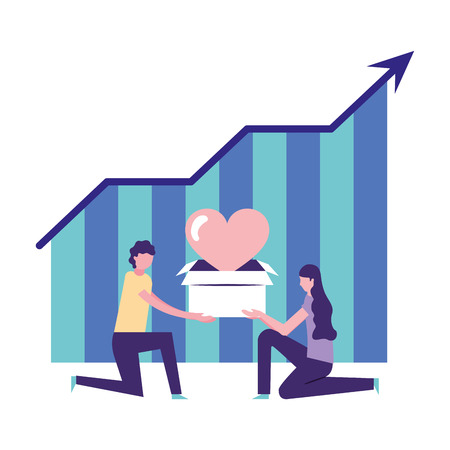 volunteers help statistics woman and boy hold box love charity vector illustration
