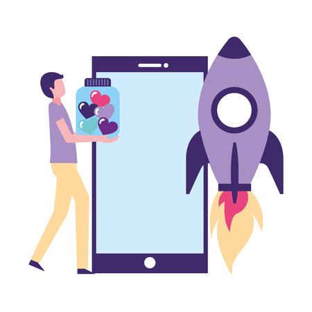 volunteers help smartphone man bottle hearts rocket vector illustration