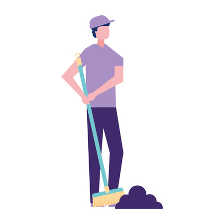 volunteers help man holding broom cleaning vector illustration