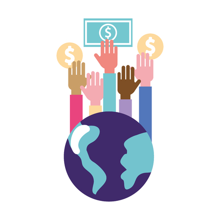 volunteers help global hands holding money donation vector illustration