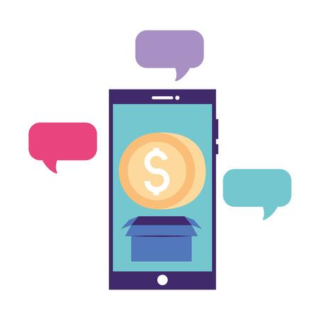 volunteers help smartphone online donate vector illustration