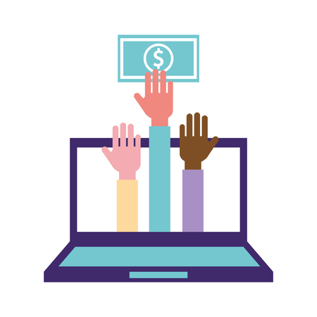 volunteers help computer hands hold money charity vector illustration Ilustracja