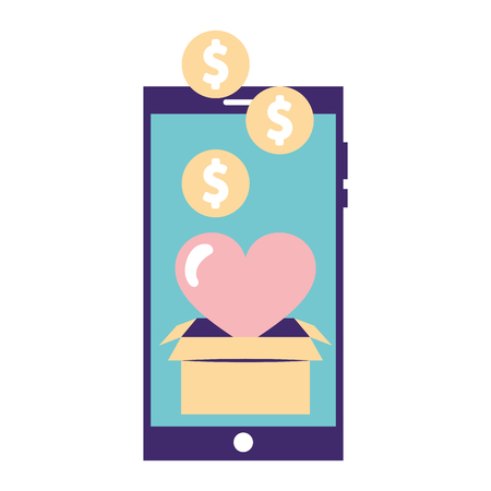 help smartphone box heart love donation vector illustration