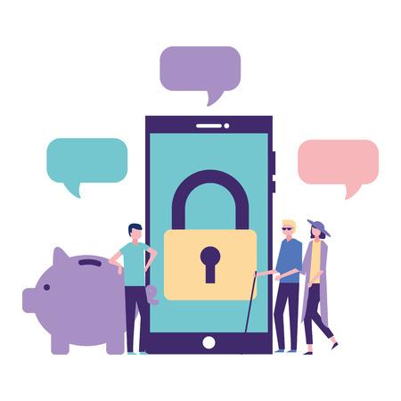 volunteers help smartphone padlock piggy donation vector illustration Illustration