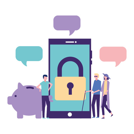 volunteers help smartphone padlock piggy donation vector illustration Illusztráció