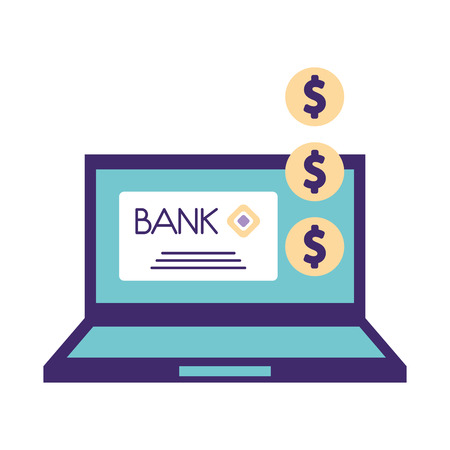 help computer bank donation charity vector illustration