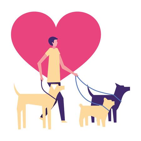 volunteers help heart love dog walker vector illustration
