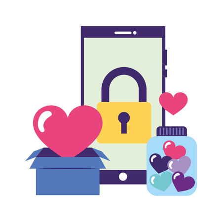 smartphone padlock box heart bottle donations vector illustration