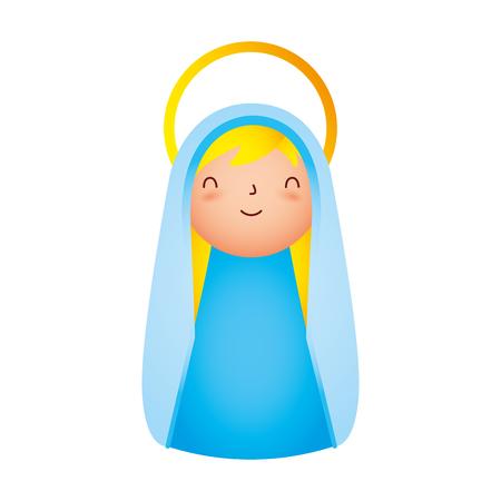 süße heilige maria charakter frohe weihnachten vektorillustration