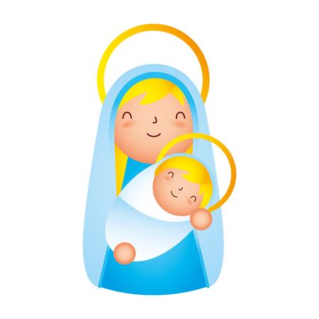manger epiphany mary holding baby jesus vector illustration