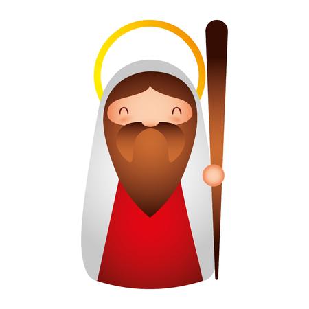 merry christmas joseph holding walking stick stars vector illustration