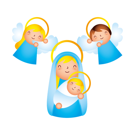 merry christmas mary holding baby angels vector illustration Иллюстрация